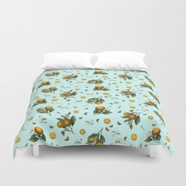 Oranges and Butterflies on Mint Duvet Cover