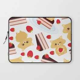 attern cute kawaii hamster with fresh Strawberry, cake decorated pink cream and chocolate Laptop Sleeve