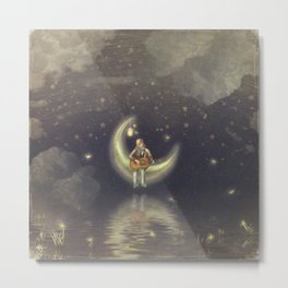 Story about boy who play guitar on moon Metal Print