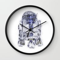 r2d2 Wall Clocks featuring R2D2 by KitschyPopShop