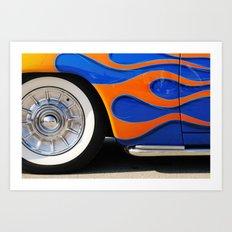 Chrome hubcaps, orange flames Art Print