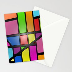 Colorful Shiny Abstract Tiles Stationery Cards