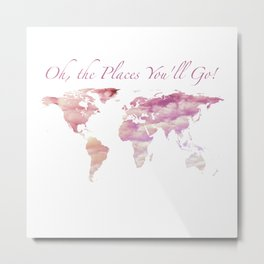 Cotton Candy Sky World Map - Oh, the Places You'll Go! Metal Print