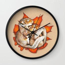Autumn Squirrels Wall Clock