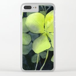 Clover Watercolor Four Leaf Clover Painting Lucky Charm Pattern Clear iPhone Case