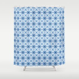 Chinoiseries Porcelain Tiles Blue Shower Curtain