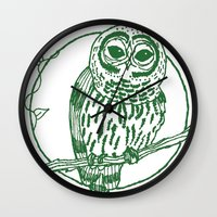 coasters Wall Clocks featuring Forest Lover's Owl by KimberlyVautrin