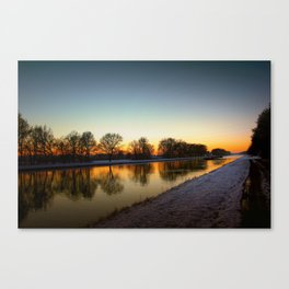 Winter sun early morning waterfront Canvas Print