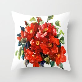 Bright Red French Garden Roses Throw Pillow