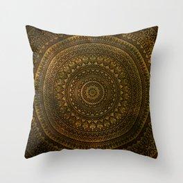 Lime Brown Boho Mandala || Manafold Art Throw Pillow