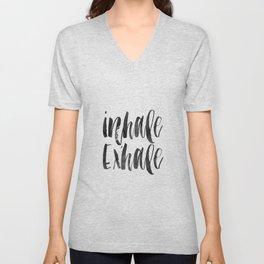 INHALE EXHALE,Inspirational Quote,Zen,Yoga,Meditation,Buda,Motivational Poster,Typography Print Unisex V-Neck