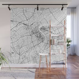 Shanghai White Map Wall Mural