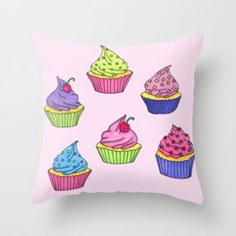 Cupcakes! (Sweets #1) Throw Pillow