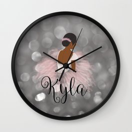 African American Ballerina Dancer Personalized Name KYLA Wall Clock
