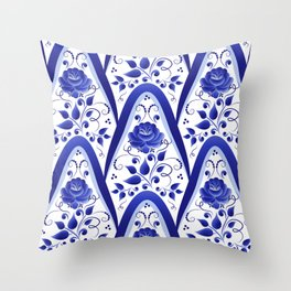 Blue stylized roses Throw Pillow