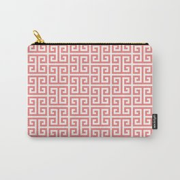 Coral and White Greek Key Pattern Carry-All Pouch