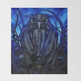 Mechanical Owl - Blue Throw Blanket
