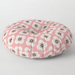 Starburst Floral, Scandinavian Pink background Floor Pillow