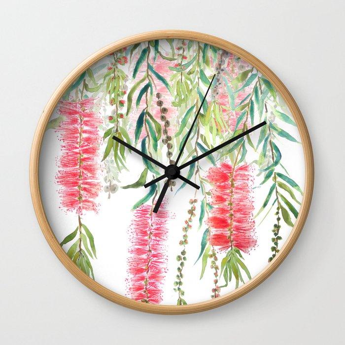 bottle brush tree flower Wall Clock