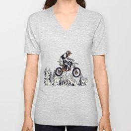 """""""High Flyer"""" Motocross Racer Unisex V-Neck"""