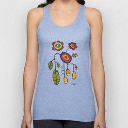 Flower Pot in Color on Teal Unisex Tank Top