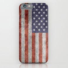 America flag with vintage retro textures iPhone 6 Slim Case