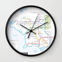 middle earth Wall Clocks featuring Middle Earth Transit Map by mehmetikberker