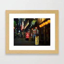 Tiny Restaurant Alley in Shinjuku, Tokyo. Framed Art Print