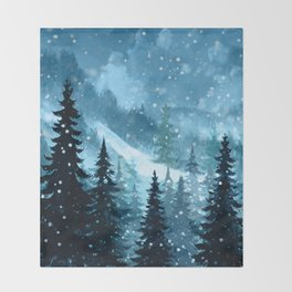 Winter Night Throw Blanket