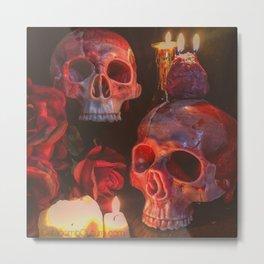 Catacomb Culture - Rose Skull Candle Metal Print
