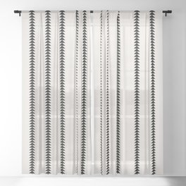 Minimal Triangles - Black & White Sheer Curtain