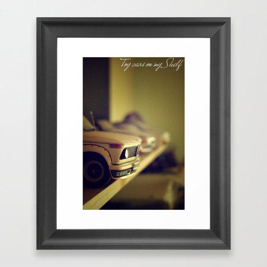 Toy cars on my Shelf Framed Art Print