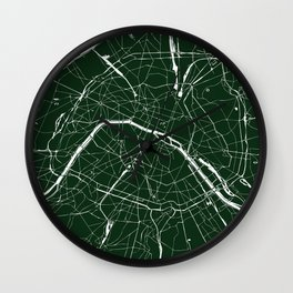 Paris France Minimal Street Map - Forest Green Wall Clock