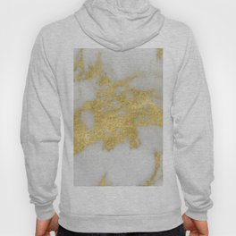 Marble - Yellow Gold Marble Foil on White Pattern Hoody