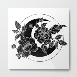 Moon with peony flowers. Beautiful illustration with moon and flowers. Metal Print