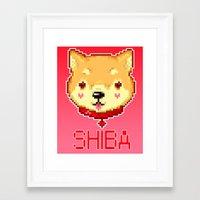 shiba Framed Art Prints featuring Shiba  by SCAD Illustration Club