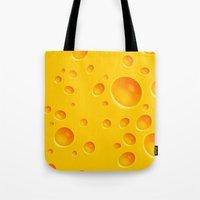 cheese Tote Bags featuring Cheese by Mikibo
