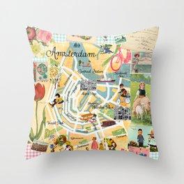 Vintage Amsterdam Collage Throw Pillow
