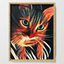 Cheshire Stripes Cat Serving Tray