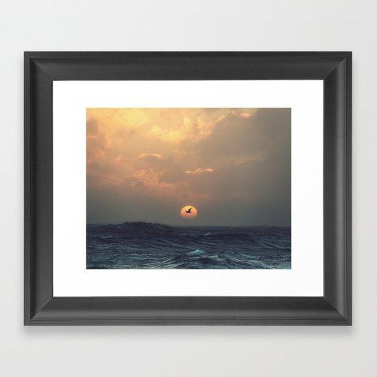 Seagull Silhouette Framed Art Print