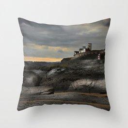 Steampunk / Burtonesque Coastal Fort Throw Pillow