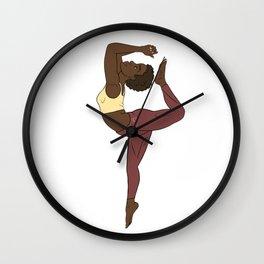 Calm Yellow African Yogi in Kemetic Yoga Pose Wall Clock