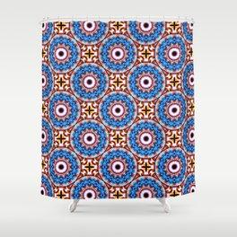 Circle and cross - White, blue, orange- Mandala Fractal Shower Curtain
