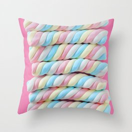 Pastel Rainbow Marshmallow Candy Throw Pillow