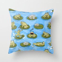 Froggy Fun Throw Pillow