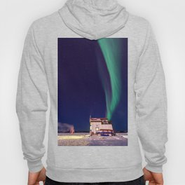 Northern Lights and house boat in Yellowknife Hoody