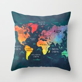 world map 49 color Throw Pillow
