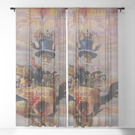 Death & Heaven (Existential Crisis) symbolism landscape painting by James Ensor Sheer Curtain