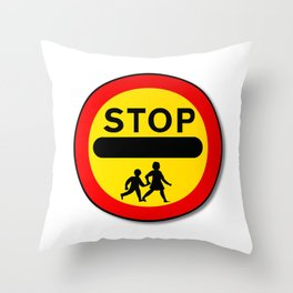 Stop Children Traffic Sign Throw Pillow