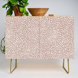 Little wild cheetah spots animal print neutral home trend warm dusty rose coral Credenza